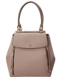 Tory Burch Half-moon Leather Tote - Gray