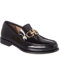 Ferragamo Gancini Leather Loafer - Black
