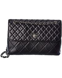 Chanel Black Quilted Lambskin Leather Dual Single Flap Bag