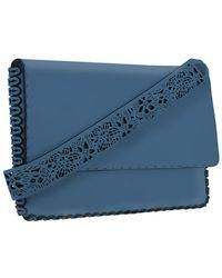 Nada Sawaya M15l-ch - Laser-cut Calf Leather Flap Clutch - Blue