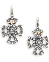 Freida Rothman | Classic Cubic Zirconia And Sterling Silver Open Pave Maltese Leverback Earrings | Lyst