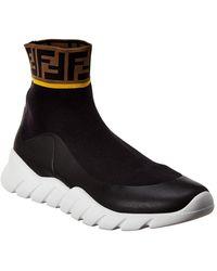 Fendi Logo Sock High-top Sneaker - Black