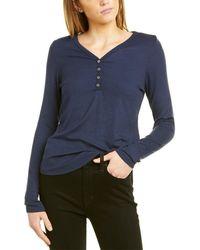 Three Dots Henley T-shirt - Blue