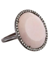 Meira T Silver Diamond & Pink Opal Ring - Multicolour