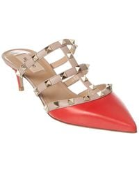 Valentino Rockstud Leather Mule - Red