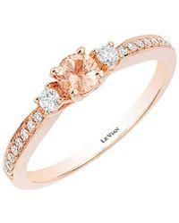Le Vian 14k Rose Gold 0.36 Ct. Tw. Diamond & Morganite Ring - Metallic
