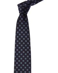 Ermenegildo Zegna Navy Squares Silk Tie - Blue
