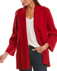 Eileen Fisher Boiled Wool Cardigan - Red