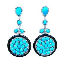 Arthur Marder Fine Jewelry 14k & Silver 4.39 Ct. Tw. Diamond, Turquoise & Black Onyx Earrings - Blue