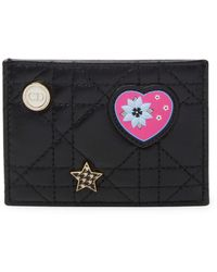 Dior Leather Embroidery Card Holder - Black