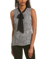 Donna Karan New York Pleated Tie - Neck Blouse - Black