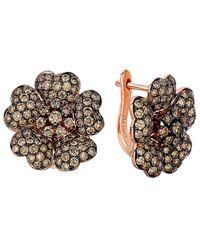 Le Vian 14k Rose Gold 2.93 Ct. Tw. Diamond Flower Earrings - Metallic