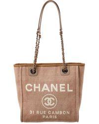 Chanel Beige Canvas Mini Deauville Tote - Multicolor