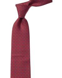 Ferragamo Ivory Print Silk Tie - Green