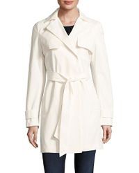 T Tahari Outerwear - Milly Cotton Lace Overlay Trench Coat - Lyst
