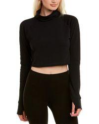 Lolë Crescent Wool-blend Crop Top - Black