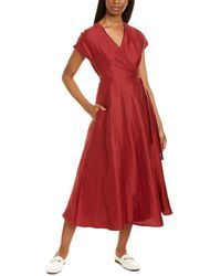 Max Mara Weekend Terreno Linen & Silk-blend Midi Dress - Red