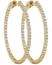 Diana M. Jewels . Fine Jewelry 14k 1.85 Ct. Tw. Diamond Hoops - Metallic
