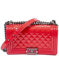 Chanel Limited Edition Lipstick Pink Quilted Patent Leather Medium Boy Bag
