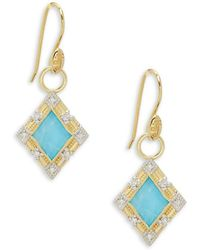 Jude Frances Lisse Diamond & 18k Yellow Gold Kite Stone Charms Earrings - Multicolour