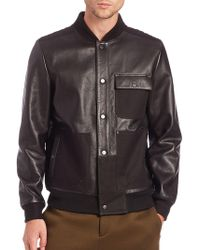 T By Alexander Wang - Leather & Canvas Bomber Jacket - Lyst