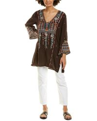 Johnny Was Leigh Silk Top - Brown