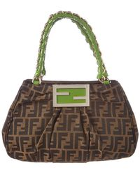 662b88061314 Fendi - Brown Zucca Canvas   Green Leather Tote - Lyst