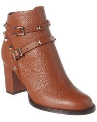 Valentino Rockstud Leather Bootie - Brown