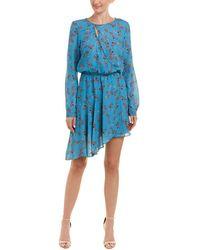 Parker Printed Faux Wrap Dress - Blue