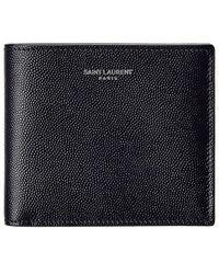 Saint Laurent East/west Leather Bifold Wallet - Blue