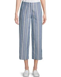 Lafayette 148 New York Kenmare Striped Cropped Pants - Blue
