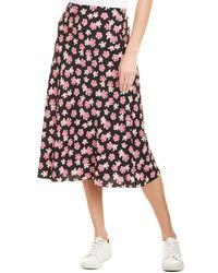 Rebecca Taylor Thea Fleur Silk Midi Skirt - Black