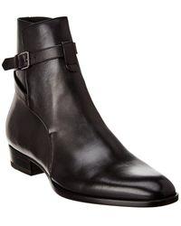 Saint Laurent Wyatt 30 Jodhpur Leather Boot - Black