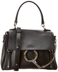 Chloé Faye Day Small Leather Shoulder Bag - Black