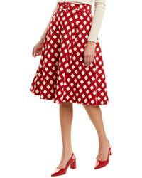Samantha Sung Wool & Silk-blend A-line Skirt - Red