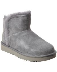 UGG Classic Mini Fluff Suede High-low Bootie - Gray