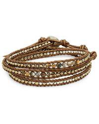 Chan Luu - Sterling Silver Multi-stone & Leather Wrap Bracelet - Lyst