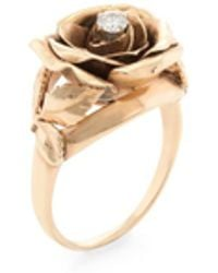 Estate Fine Jewelry - Vintage 14k Yellow Gold & 0.10 Total Ct. Diamond Rose Cocktail Ring - Lyst