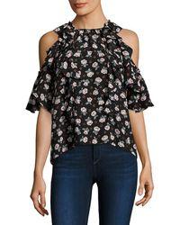 Rebecca Taylor Rosalie Floral Cold-shoulder Top - Black