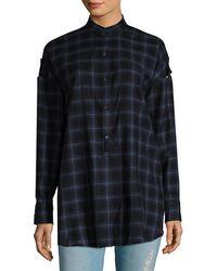 Helmut Lang Wool Checkered Shoulder Tab Shirt - Black