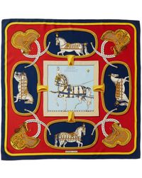 """Hermès """"grand Apparat,"""" By Jacques Eudel Silk Scarf - Red"""