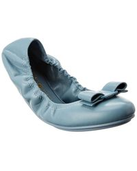 Ferragamo Vara Bow Leather Ballet Flat - Blue