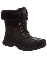 UGG Butte Waterproof Leather & Suede Boot - Black