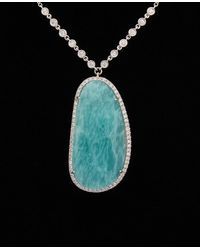 Meira T 14k 23.05 Ct. Tw. Diamond & Amazonite Necklace - Black