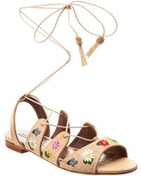 Tabitha Simmons Embroidered Cruz Sandal - Natural