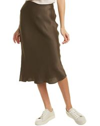 Bobi Solid Midi Skirt - Green