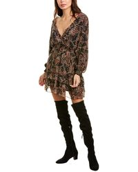 The Kooples Tanger Silk-blend A-line Dress - Black