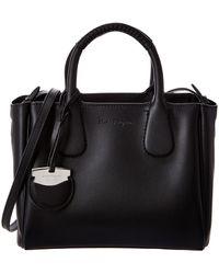 Ferragamo Nolita Small Leather Tote - Black