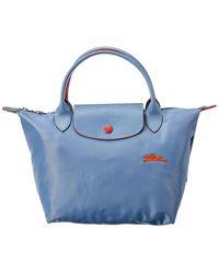 Longchamp Le Pliage Club Small Nylon Short Handle Tote - Blue