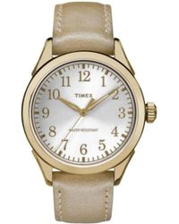 Timex Women's Leather Watch - Metallic
